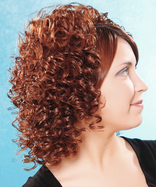 Medium Curly Formal  - Medium Brunette - side on view
