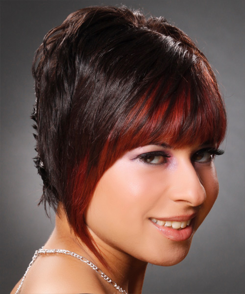 Short Straight Alternative Hairstyle - Dark Brunette (Chocolate) - side view 2