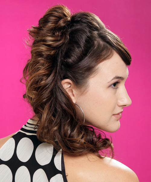 Formal Curly Half Up Hairstyle - Dark Brunette (Mocha) - side view 2