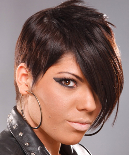 Short Straight Alternative Hairstyle - Medium Brunette (Chocolate) Hair Color - side view