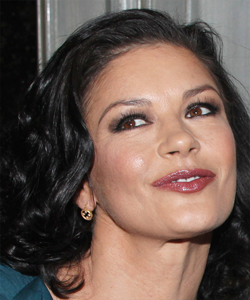 Catherine Zeta Jones Medium Wavy Hairstyle - side view 2