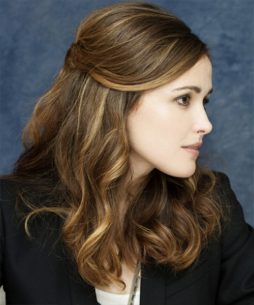 Rose Byrne Curly Casual Half Up Hairstyle - side view