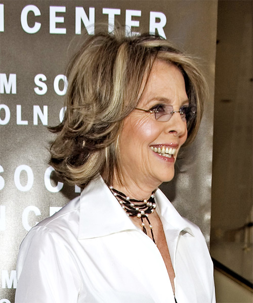 Diane Keaton Medium Straight Hairstyle - side view 2