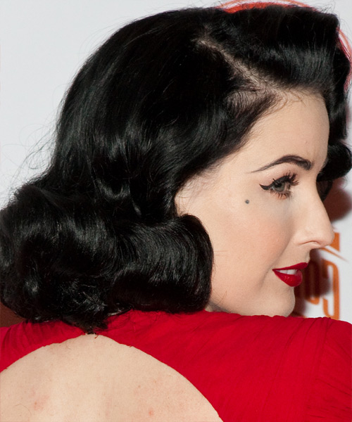Dita Von Teese Medium Wavy Formal Hairstyle - Black Hair Color - side on view