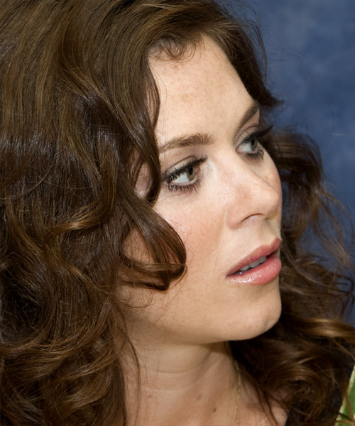 Anna Friel Long Wavy Hairstyle - Medium Brunette - side view 2