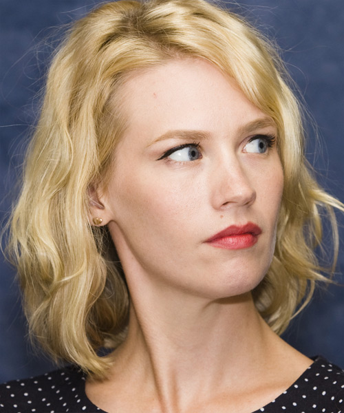 January Jones Medium Wavy Hairstyle - side view 2