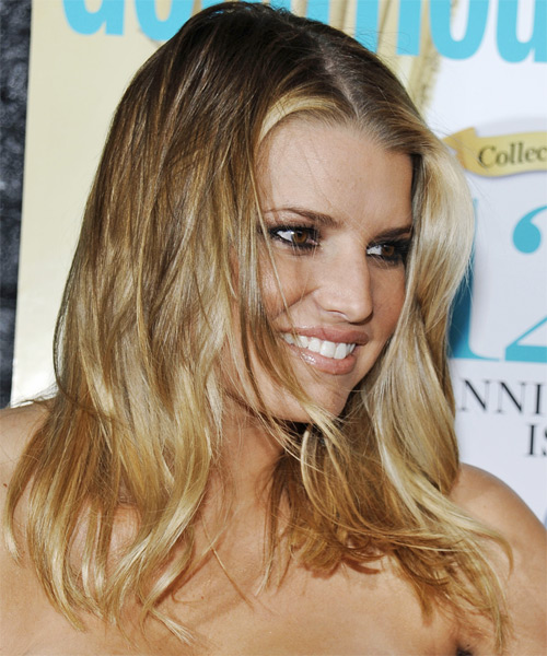 Jessica Simpson Long Straight Hairstyle - Dark Blonde (Golden) - side view 2