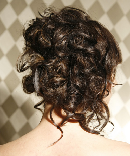 Formal Curly Updo Hairstyle - Dark Brunette - side view