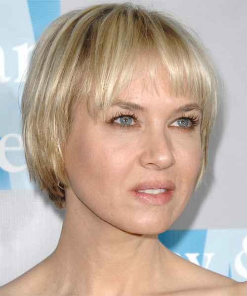 Renee Zellweger Short Straight Hairstyle - Light Blonde - side view 2