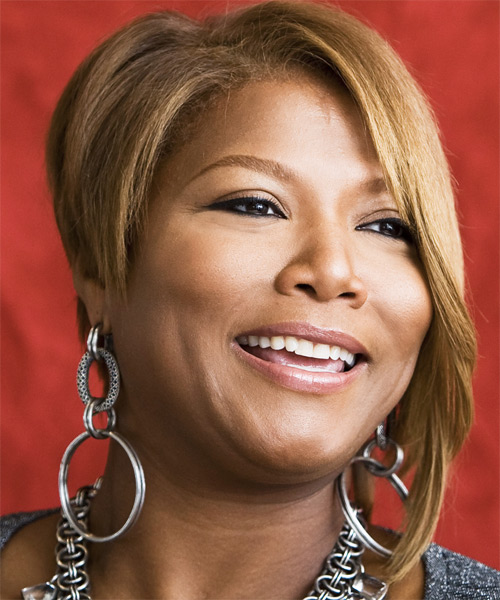 Queen Latifah Medium Straight Hairstyle - side view 2