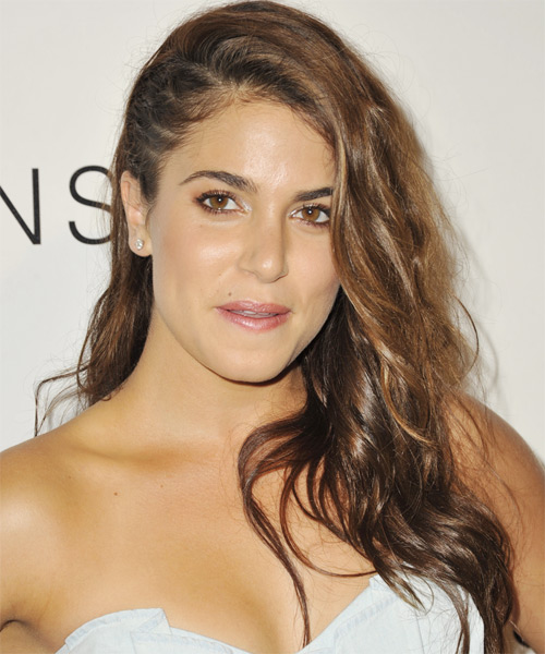 Nikki Reed Long Wavy Hairstyle - Medium Brunette (Chestnut) - side view