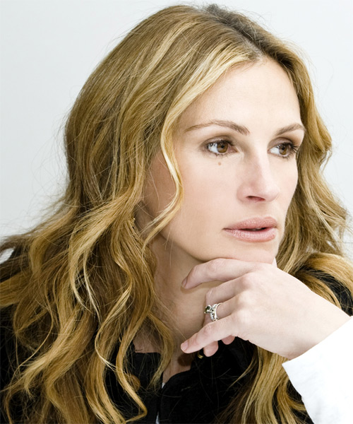 Julia Roberts Long Wavy Casual Hairstyle - side on view