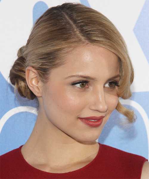 Dianna Agron Updo Long Curly Formal  - side on view