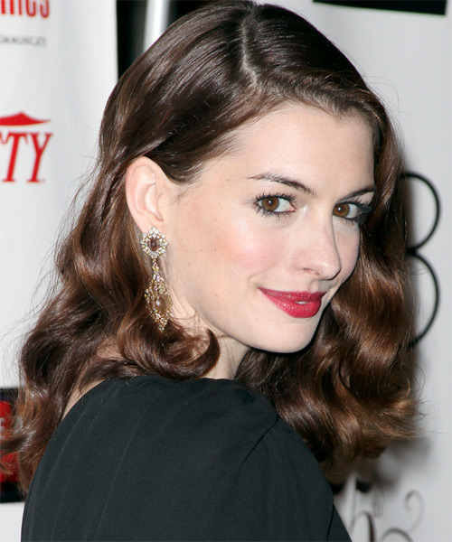 Anne Hathaway Long Wavy Hairstyle - Dark Brunette - side view