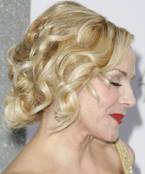 Kim Cattrall Curly Formal Updo Hairstyle - side on view