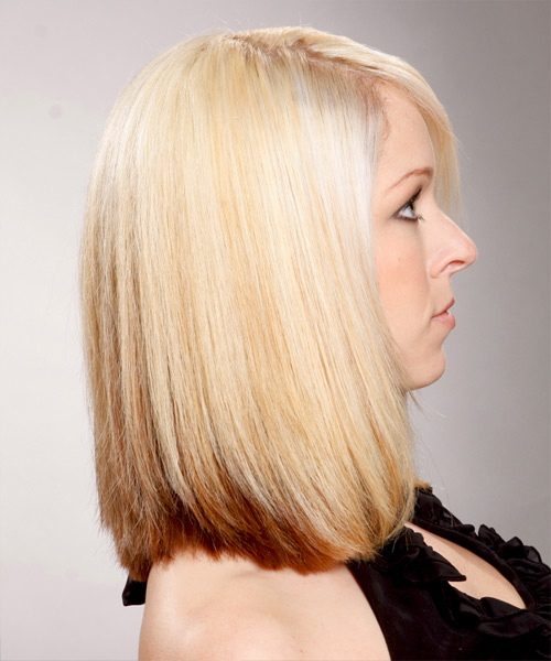 Medium Straight Formal Hairstyle - Light Blonde - side view 2