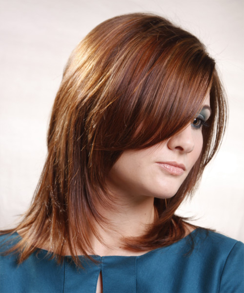 Medium Straight Formal Hairstyle - Light Brunette Hair Color - side on view