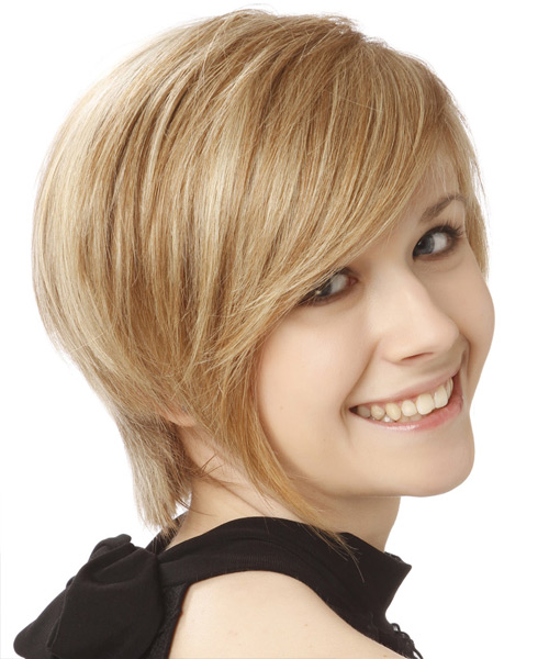 Short Straight Formal  with Side Swept Bangs - Medium Blonde (Champagne) - side on view