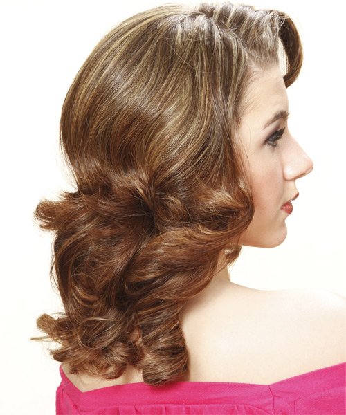 Long Curly Formal Hairstyle (Chestnut) - side on view