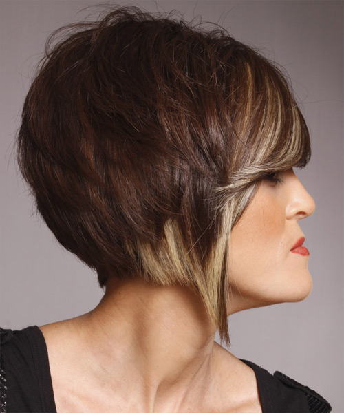 Medium Straight Formal Hairstyle with Side Swept Bangs - Dark Brunette (Mocha) Hair Color - side on view