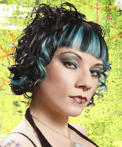 Medium Curly Alternative Hairstyle - Black - side view 2
