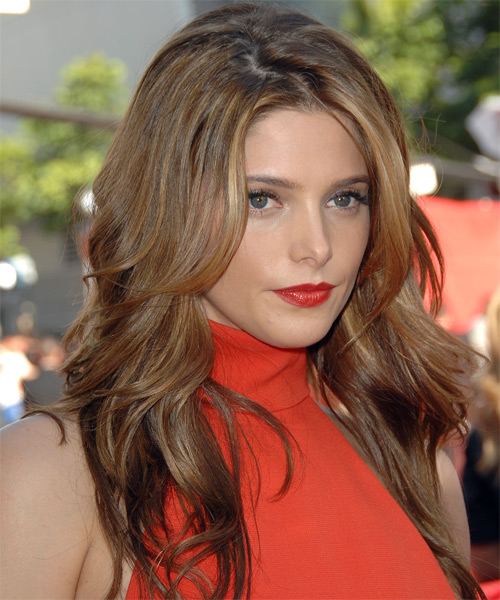 Ashley Greene Long Straight Hairstyle - Light Brunette (Auburn) - side view