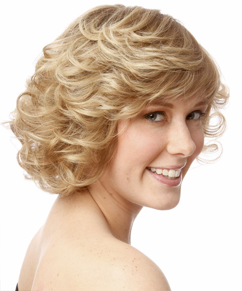 Short Curly Formal  with Side Swept Bangs - Light Blonde - side on view