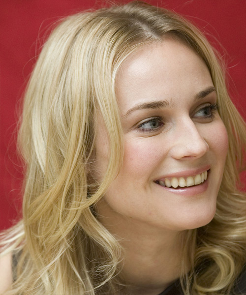 Diane Kruger Long Wavy Casual Hairstyle - side on view
