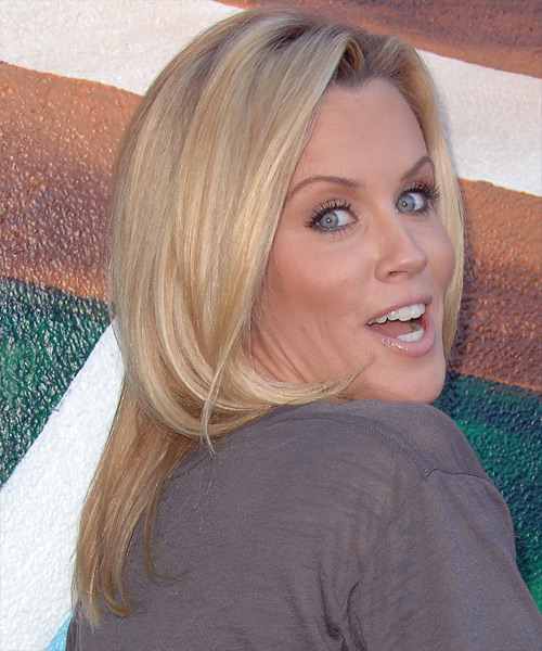 Jenny McCarthy Long Straight Casual Hairstyle - Light Blonde (Honey) Hair Color - side on view