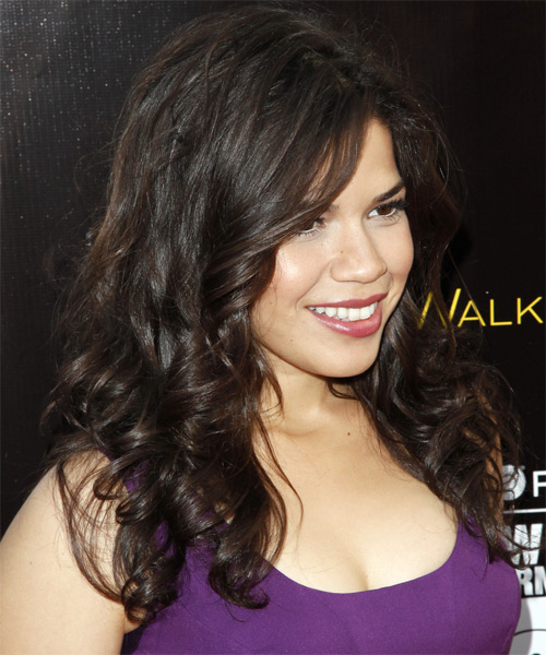 America Ferrera Long Wavy Hairstyle (Mocha) - side view 2
