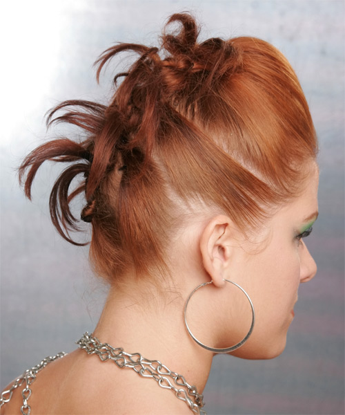 Long Straight Formal Updo Hairstyle Ginger Hair Color