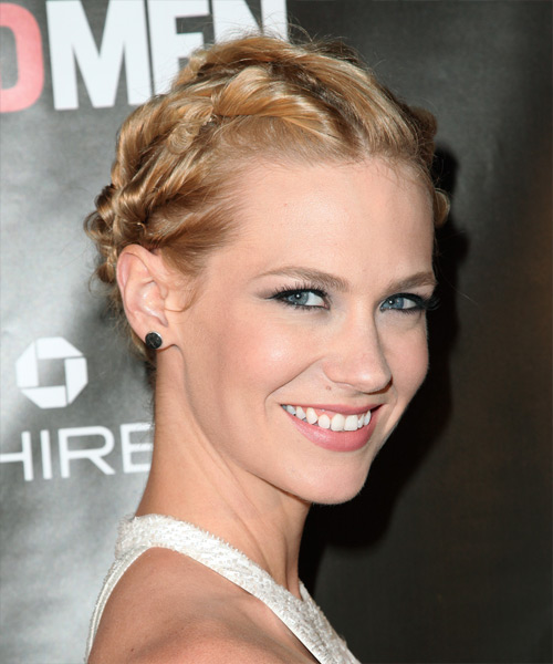 January Jones Formal Curly Updo Hairstyle - side view 2