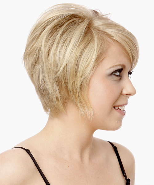 Short Straight Formal  with Side Swept Bangs (Platinum) - side on view