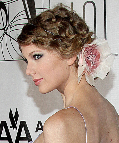 Taylor Swift Curly Formal Updo Hairstyle - Dark Blonde (Ash) Hair Color - side on view
