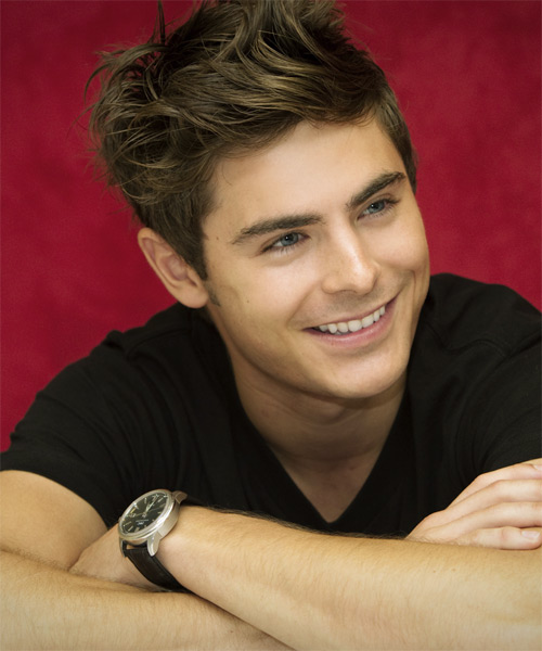 Zac Efron Short Straight Hairstyle - Medium Brunette (Ash) - side view