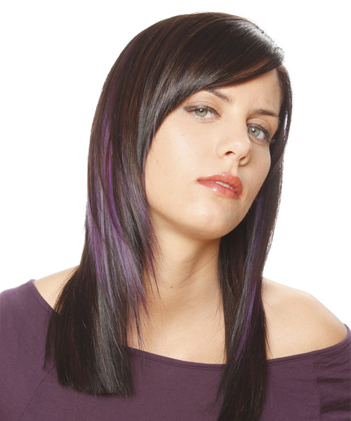Long Straight Casual Hairstyle with Side Swept Bangs - Dark Brunette (Plum) Hair Color - side on view