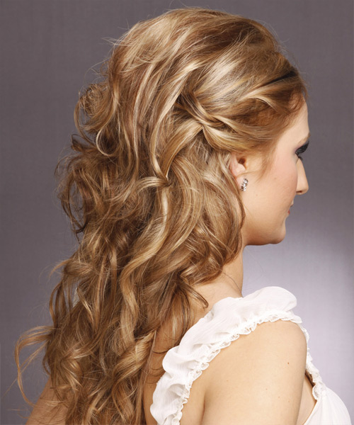 Half Up Long Curly Formal Hairstyle - Light Brunette - side view 2