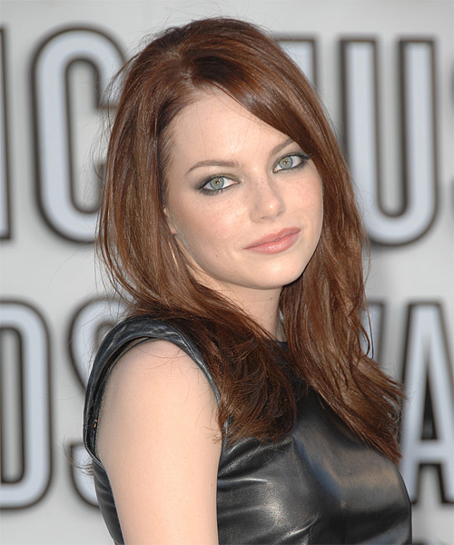 Emma Stone Long Straight Casual Hairstyle with Side Swept Bangs - Medium Brunette (Chestnut) Hair Color - side on view