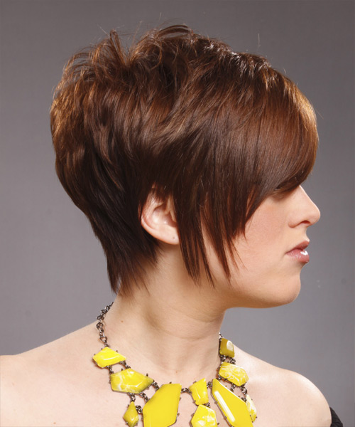 Short Straight Alternative Hairstyle with Side Swept Bangs (Caramel) - side on view