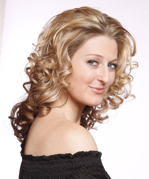 Long Curly Formal Hairstyle - Medium Blonde (Chocolate) - side view 2