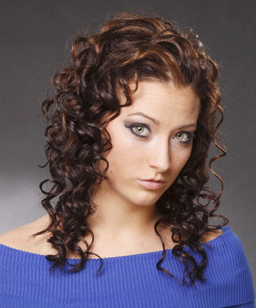 Long Curly Casual Hairstyle - Dark Brunette - side view 2