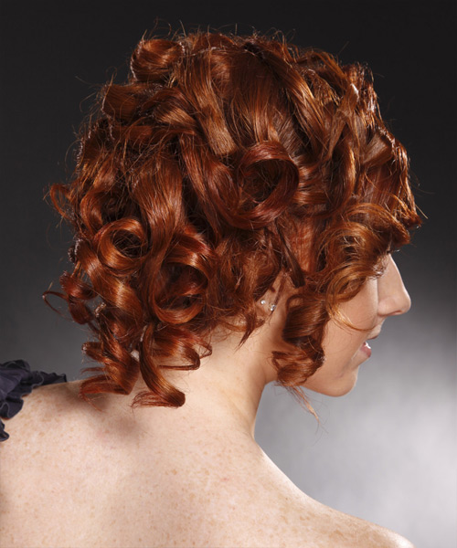 Formal Curly Updo Hairstyle - Medium Red (Burgundy) - side view 2