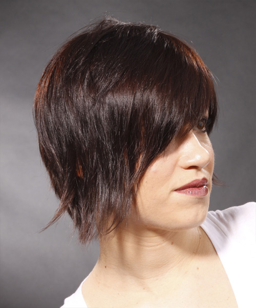Short Straight Casual Hairstyle - Medium Brunette (Mocha) - side view 2