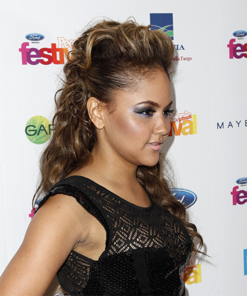 Kat DeLuna Curly Casual Half Up Hairstyle - side on view