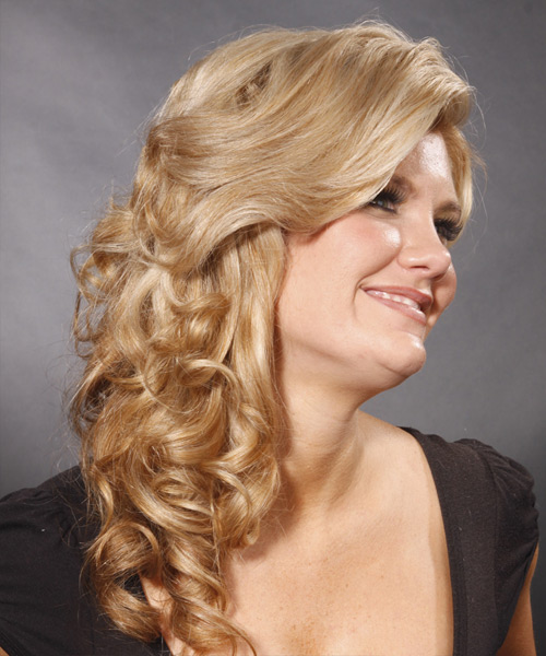Long Wavy Formal Half Up Hairstyle - side on view