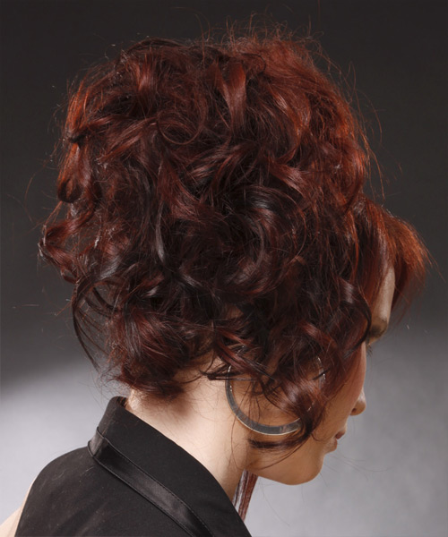 Curly Formal Updo Hairstyle - Medium Red Hair Color - side on view