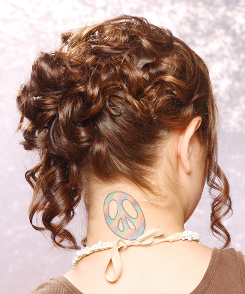 Formal Curly Updo Hairstyle - Medium Brunette (Chestnut) - side view