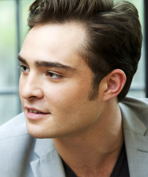 Ed Westwick Short Straight Casual Hairstyle - side on view