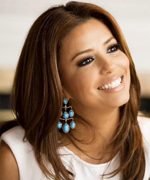 Eva Longoria Parker Long Straight Hairstyle - Medium Brunette (Auburn) - side view 2