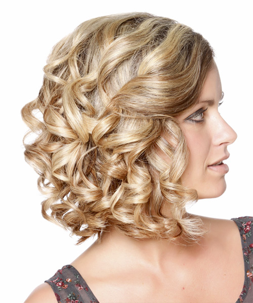 Formal Curly Updo Hairstyle - Medium Blonde - side view 2
